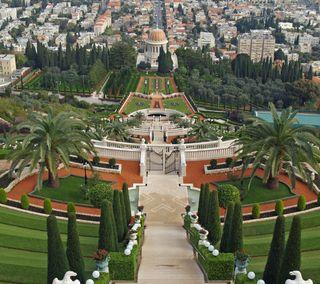 Обои на телефон холм, лестница, дворец, israel, bahaism, bahai