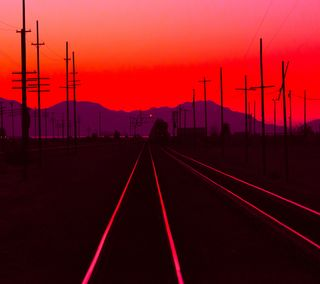 Обои на телефон поезда, солнце, рельсы, путь, колея, закат