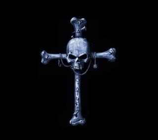 Обои на телефон крест, череп, синие