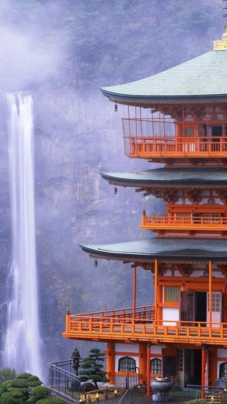 Обои на телефон храм, водопад, японские, крутые