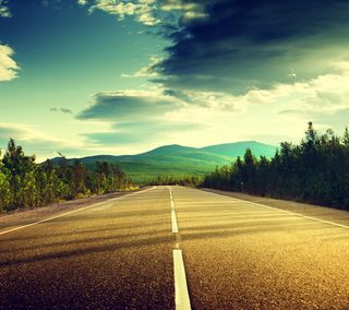 Обои на телефон природа, пейзаж, облака, небо, дорога