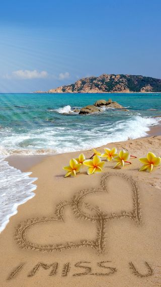 Обои на телефон ты, сердце, романтика, пляж, песок, море, любовь, plumeria, love