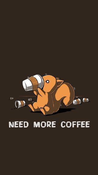 Обои на телефон кофе, белка, need more coffee