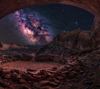 Обои на телефон пустыня, ночь, небо, каньон, звезда