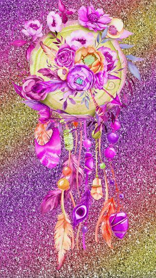 Обои на телефон мечта, цветы, фиолетовые, рисунки, ловец снов, звезды, дизайн, блестящие, абстрактные