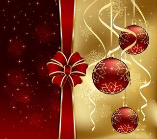 Обои на телефон новый, рождество, золотые, счастливое, украшение, шары, лук