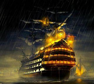 Обои на телефон корабли, свет, новый, море, дождь, арт, ship at sea, hd