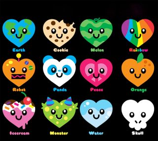 Обои на телефон фрукты, формы, тип, сердце, красочные, type of hearts, snacks, cut, adorab