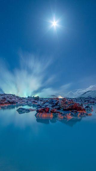 Обои на телефон чистые, природа, озеро, ночь, небо, луна, камни, hd, clear sky, 1080p