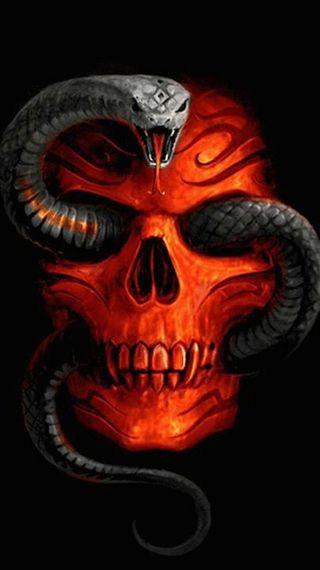 Обои на телефон змея, череп, темные, snake skull