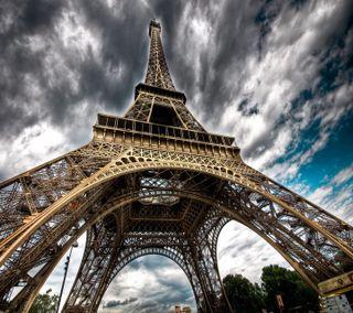 Обои на телефон париж, приятные, небо, крутые, классные, город, вид, башня