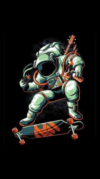 Обои на телефон скейт, небо, космонавт, арт, art