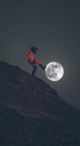 Обои на телефон байкер, футбол, луна, football moon