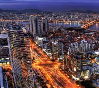 Обои на телефон архитектура, здания, вечер, seoul, evening in seoul