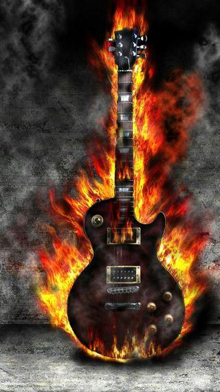 Обои на телефон электрические, стена, огонь, музыка, инструмент, горящий, гореть, гитара, burning guitar