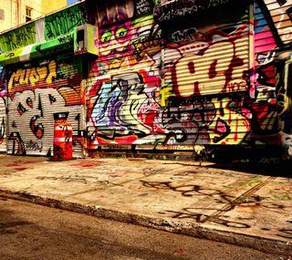 Обои на телефон граффити, стена