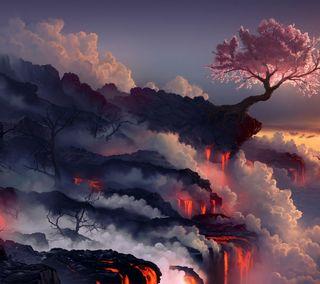 Обои на телефон пейзаж, огонь, магма, лава, горы, land