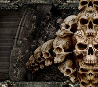 Обои на телефон племенные, череп, темные, страшные, скелет, зло, жуткие, готические, арт, piled, art
