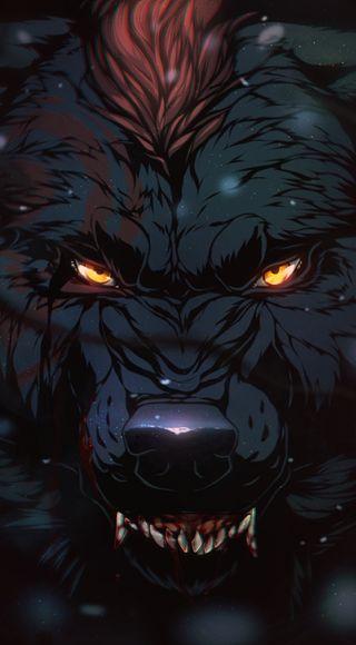 Обои на телефон графика, темные, волк