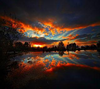 Обои на телефон прекрасные, небо, закат, облака, вид, вечер, сумерки
