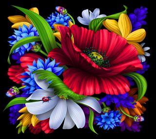 Обои на телефон цветочные, цветы, фон, красочные, векторные, абстрактные