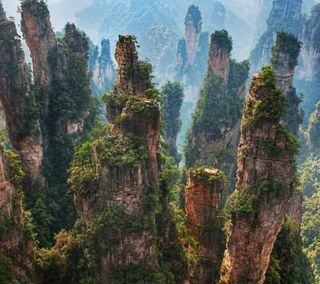 Обои на телефон peaks, горы, лес, китай, азия, утес, китайские