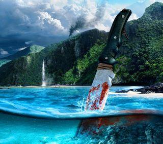 Обои на телефон нож, кровь, игровые, фан, океан, игра, далеко, вода, far cry 3