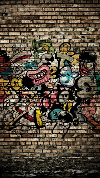 Обои на телефон стена, граффити