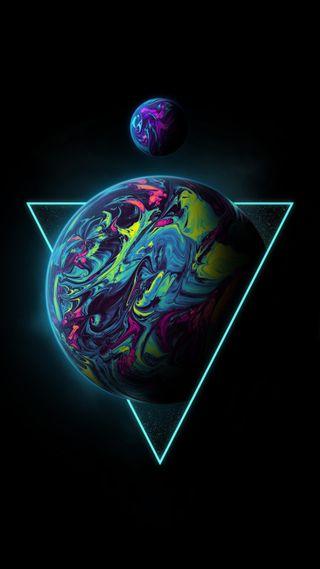 Обои на телефон солнечный, цветные, фиолетовые, треугольник, текстуры, система, синие, розовые, радуга, психоделические, планета, оранжевые, мечта, красочные, космос, земля, звезды, галактика, вейпорвейв, абстрактные, triangle planet, rainbow holographic, galaxy, fluid, Triangle, Geoglyser, Colorful, Color