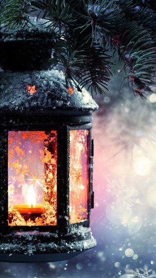 Обои на телефон фонарь, снег, свет, рождество, зима