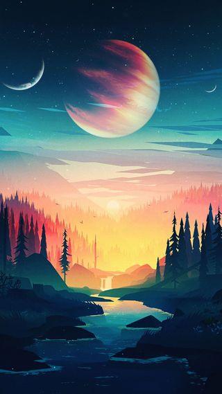 Обои на телефон планеты, солнце, сердце, луна, космос, lost in space