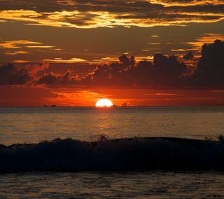 Обои на телефон солнце, море, закат, sea sunset