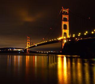 Обои на телефон архитектура, пейзаж, ночь, мост, золотые, ворота, вид, night view of ggb, landmark, golden gate bridge