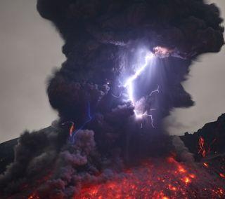 Обои на телефон гром, огонь, молния, лава, дым, вулкан, volcano bolt