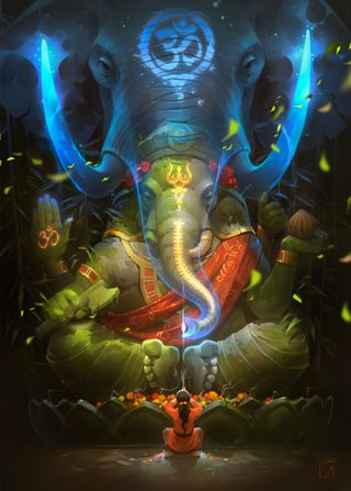 Обои на телефон слон, рисунки, женщина, дух, бог, ganexa