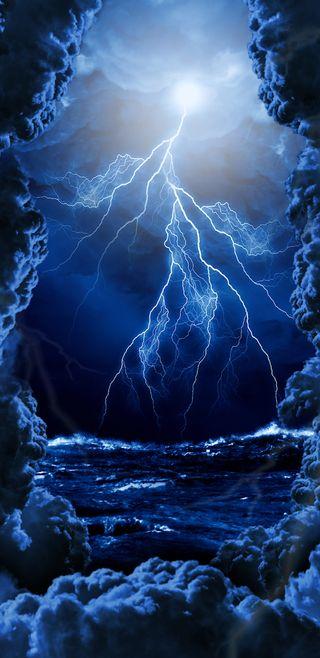 Обои на телефон шторм, удар, море, синие, молния, гром, storms, into the storm