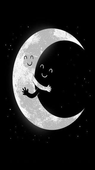 Обои на телефон обнимать, прекрасные, ночь, небо, луна, lovely moon