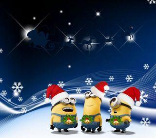Обои на телефон счастливое, санта, рождество, мультики, миньоны, 2160x1920px, minions xmas