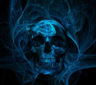 Обои на телефон череп, синие