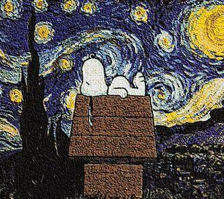 Обои на телефон фургон, снупи, собаки, синие, рисунки, простые, милые, крутые, арт, gogh, art