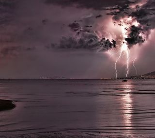 Обои на телефон молния, фиолетовые, темные, природа, океан, облака, гром, purple ocean, nature wallpapers, dark clouds