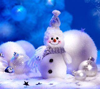 Обои на телефон шары, снеговик, рождество, милые, звезды, christmas snowman