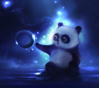 Обои на телефон панда, синие, пузыри, милые, животные