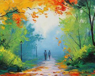 Обои на телефон любовники, романтика, рисунки, природа, пара, осень, лес, арт, lovers paint