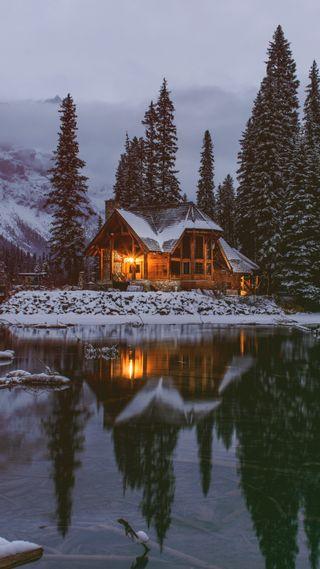 Обои на телефон снег, озеро, город, зима, дом, zwinter18, znaturewint18, cozy lake house