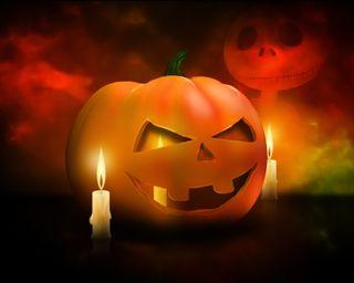 Обои на телефон тыква, хэллоуин, свеча, призрак, ghost