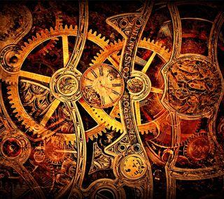 Обои на телефон шестерни, часы, золотые, steampunk, clockwork