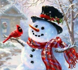 Обои на телефон холодное, птицы, счастливое, снеговик, рождество, зима