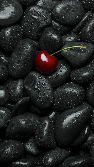 Обои на телефон вишня, черные, камни