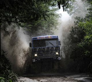 Обои на телефон ралли, грузовик, лес, kamaz truck
